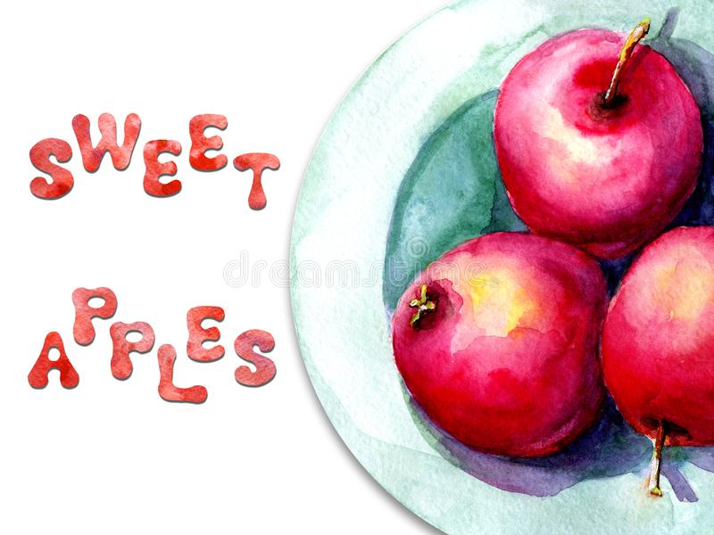 Απεικόνιση Watercolor με την εικόνα των μήλων σε ένα πιάτο Έννοια για την αγορά αγροτών, φυσικά προϊόντα, χορτοφαγία διανυσματική απεικόνιση