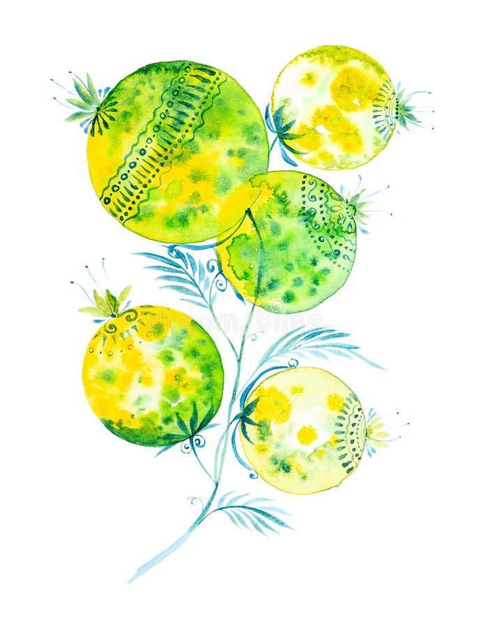 Απεικόνιση Watercolor με το όμορφο αφηρημένο λουλούδι o ελεύθερη απεικόνιση δικαιώματος