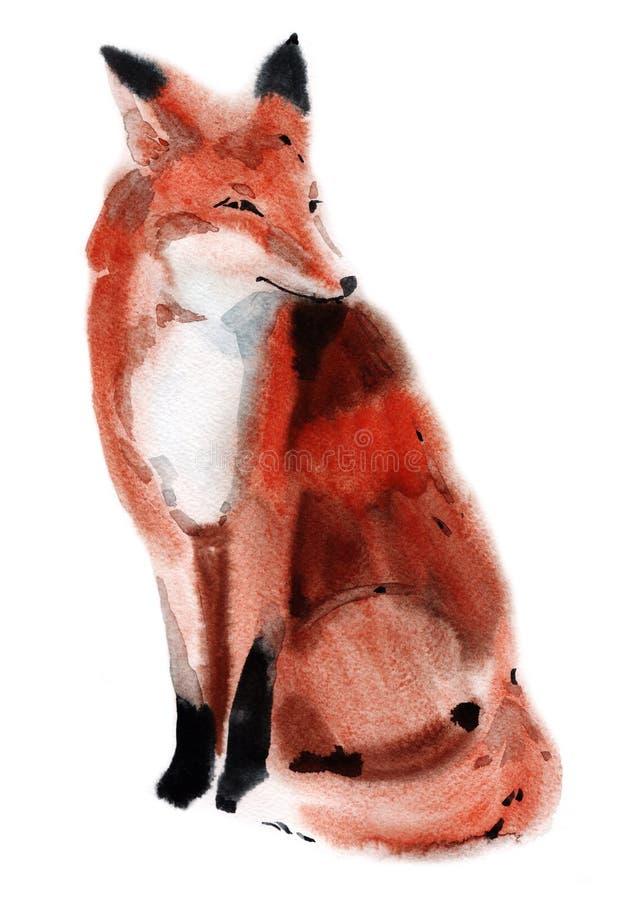 Απεικόνιση Watercolor μιας αλεπούς ελεύθερη απεικόνιση δικαιώματος