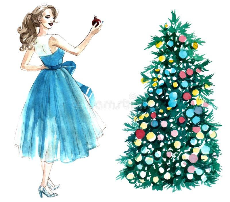 Απεικόνιση Watercolor μιας γυναίκας με μια σφαίρα που διακοσμεί ένα χριστουγεννιάτικο δέντρο που απομονώνεται στο άσπρο υπόβαθρο απεικόνιση αποθεμάτων