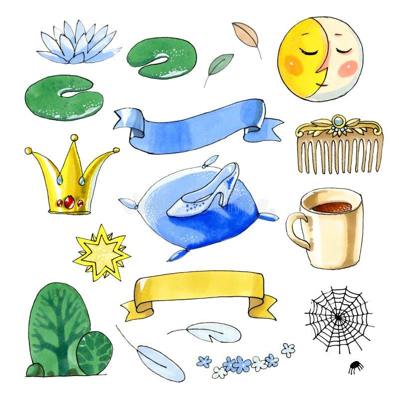 Απεικόνιση Watercolor που απομονώνεται στο άσπρο υπόβαθρο Αφηρημένες ανασκοπήσεις φαντασίας με το μαγικό βιβλίο διανυσματική απεικόνιση