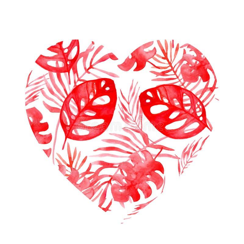 Απεικόνιση Watercolor της καρδιάς των τροπικών φύλλων του χρώματος κοραλλιών απεικόνιση αποθεμάτων