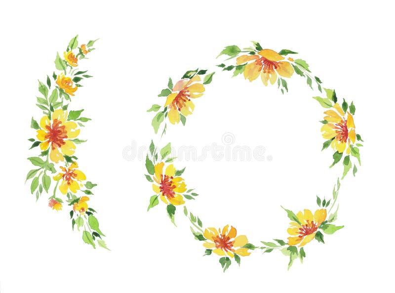 Απεικόνιση Watercolor του κίτρινου στεφανιού λουλουδιών στοκ εικόνα