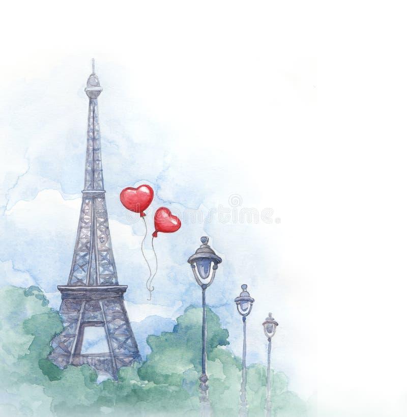 Απεικόνιση Watercolor του πύργου του Άιφελ διανυσματική απεικόνιση