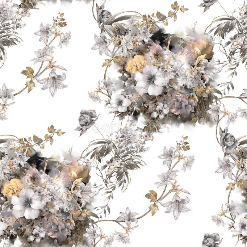 Απεικόνιση Watercolor του φύλλου και των λουλουδιών, άνευ ραφής σχέδιο απεικόνιση αποθεμάτων