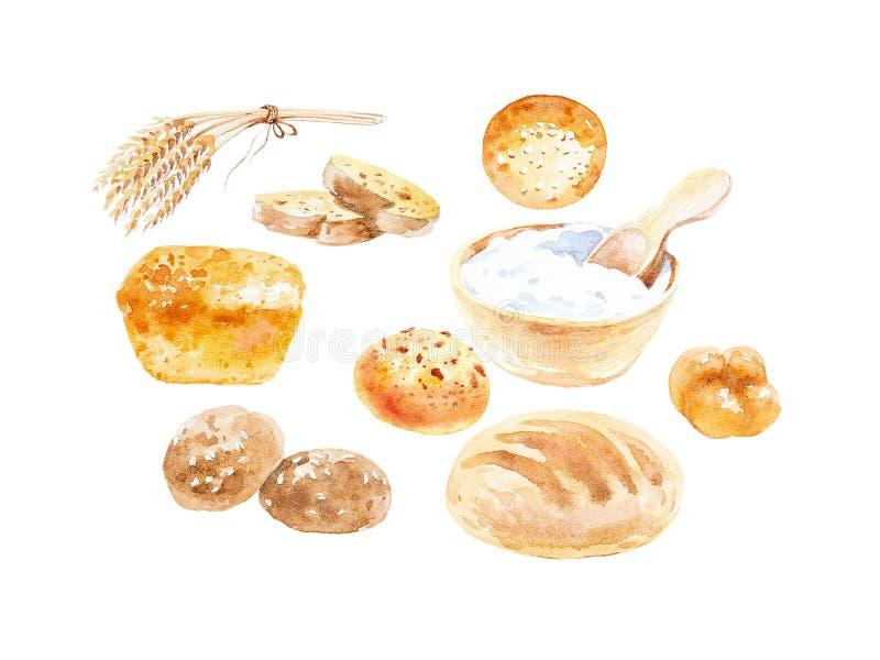 Απεικόνιση Watercolor των αυτιών σίτου, των διάφορων κουλουριών, του ψωμιού και της ξινής κρέμας σε ένα κύπελλο o στοκ εικόνες
