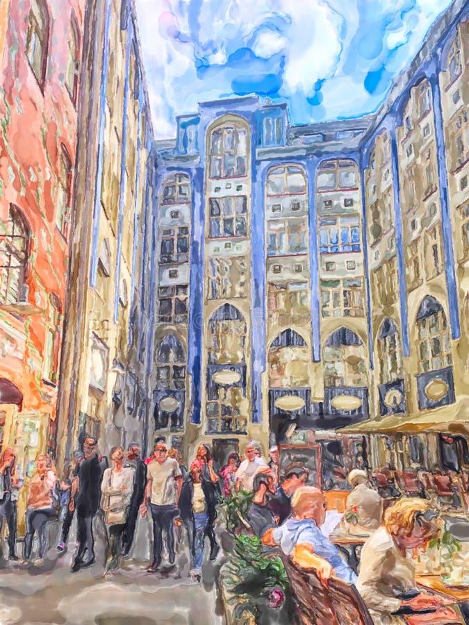 Απεικόνιση Watercolor των ονομάτων Hackesche Hoefe προορισμού ταξιδιού του Βερολίνου με τους φραγμούς και τα εστιατόρια Πρόσοψη σ στοκ εικόνες