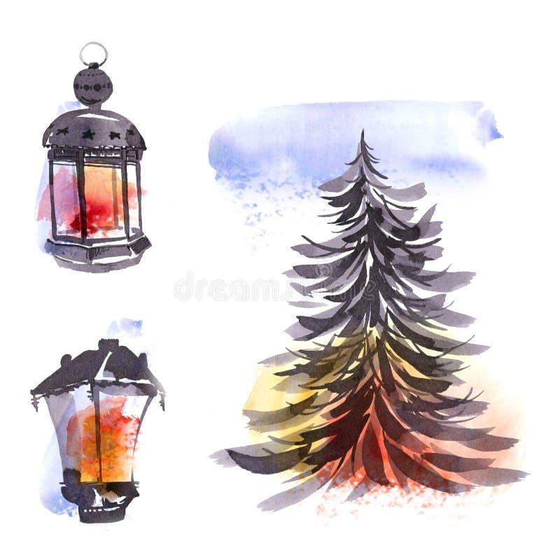 Απεικόνιση watercolor Χριστουγέννων διανυσματική απεικόνιση