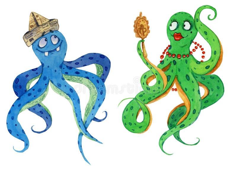 Απεικόνιση Watercolour δύο αστείων χταποδιών αρσενικών και θηλυκών στοκ φωτογραφίες