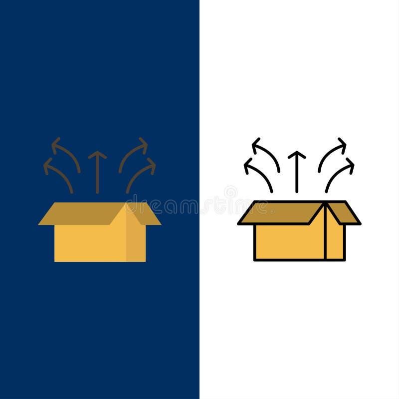 Απελευθέρωση, κιβώτιο, έναρξη, ανοικτό κιβώτιο, εικονίδια προϊόντων Επίπεδος και γραμμή γέμισε το καθορισμένο διανυσματικό μπλε υ απεικόνιση αποθεμάτων