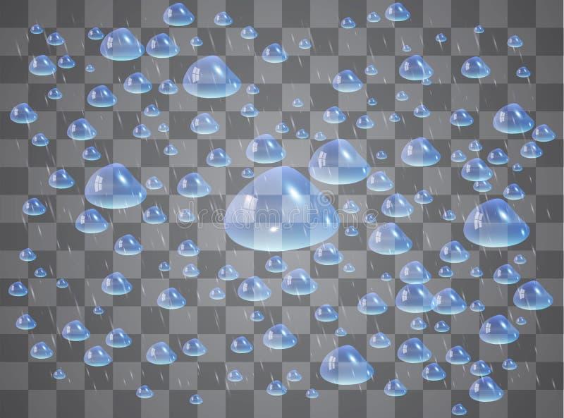 Απελευθερώσεις νερού Σταγόνες βροχής ή ντους, συμπύκνωση στο γυαλί Δροσιά μετά από τη βροχή Απομονωμένος στο διαφανές υπόβαθρο απεικόνιση αποθεμάτων