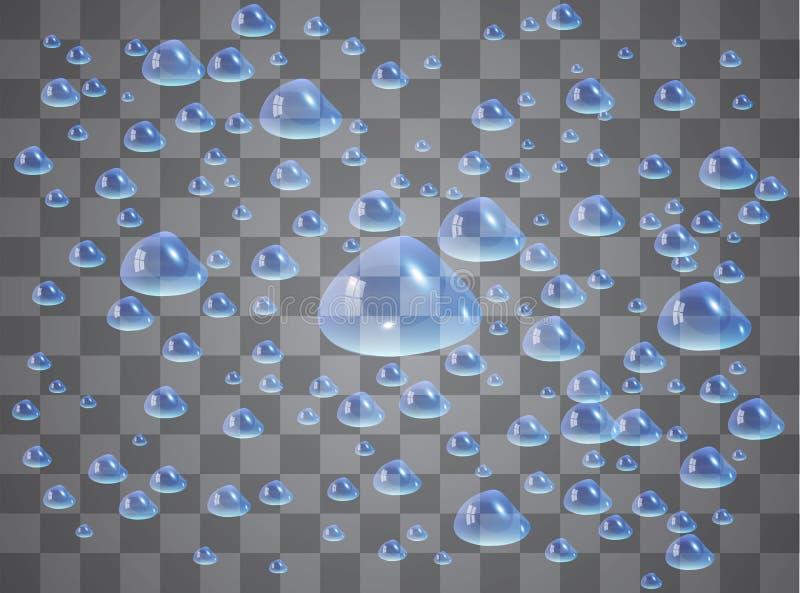 Απελευθερώσεις νερού Σταγόνες βροχής ή ντους, συμπύκνωση στο γυαλί Δροσιά μετά από τη βροχή Απομονωμένος στο διαφανές υπόβαθρο διανυσματική απεικόνιση