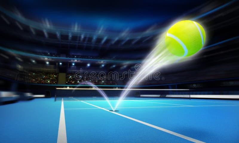 Απεργία άσσων σφαιρών αντισφαίρισης σε ένα μπλε δικαστήριο στη θαμπάδα κινήσεων διανυσματική απεικόνιση