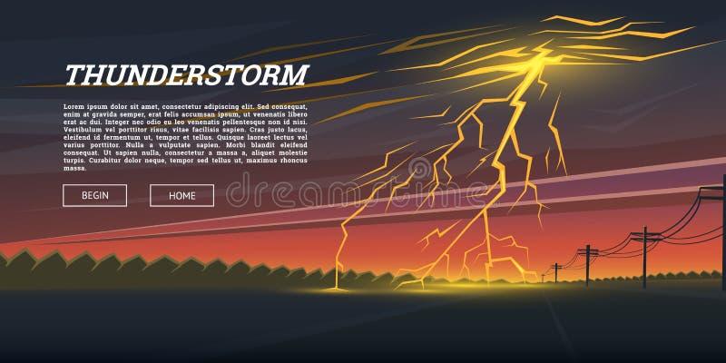 Απεργία και βροχή αστραπής Ημέρα καταιγίδας στο υπόβαθρο κοιλάδων μπουλόνι βροντής, επίδραση πυράκτωσης λάμψης σπινθηρίσματος νύχ διανυσματική απεικόνιση