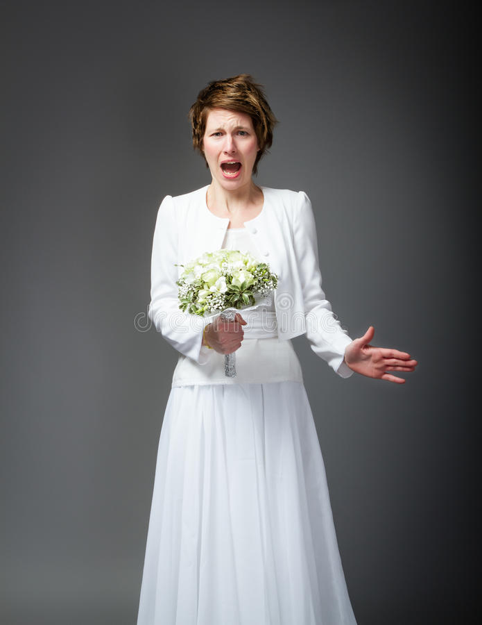 Απελπισμένη σύζυγος στη ημέρα γάμου στοκ εικόνες με δικαίωμα ελεύθερης χρήσης