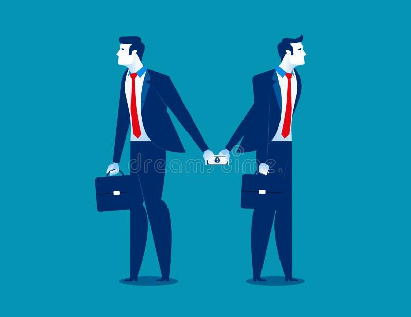απιστία Επιχειρηματίας που δίνει τα χρήματα στο άτομο πίσω από την πλάτη Έννοια ελεύθερη απεικόνιση δικαιώματος