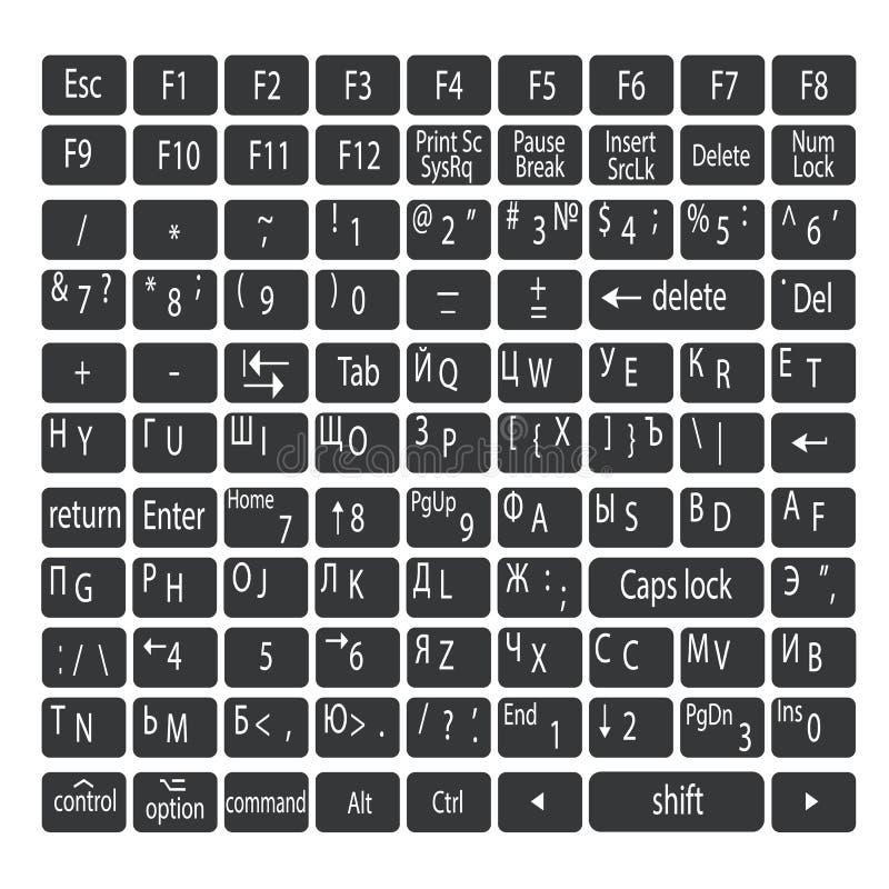 Απλά γκρίζα κουμπιά πληκτρολογίων με τις άσπρες επιστολές Αγγλικές και ρωσικές γλώσσες πληκτρολογίων ελεύθερη απεικόνιση δικαιώματος