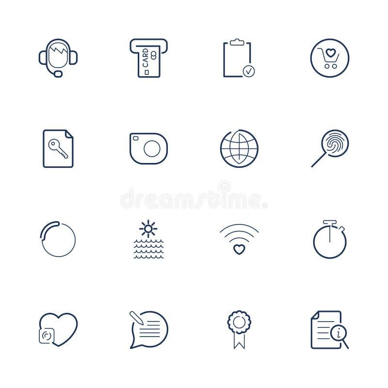 Απλά διαφορετικά εικονίδια Ιστού Καθορισμένα εικονίδια για app, προγράμματα, περιοχές ελεύθερη απεικόνιση δικαιώματος