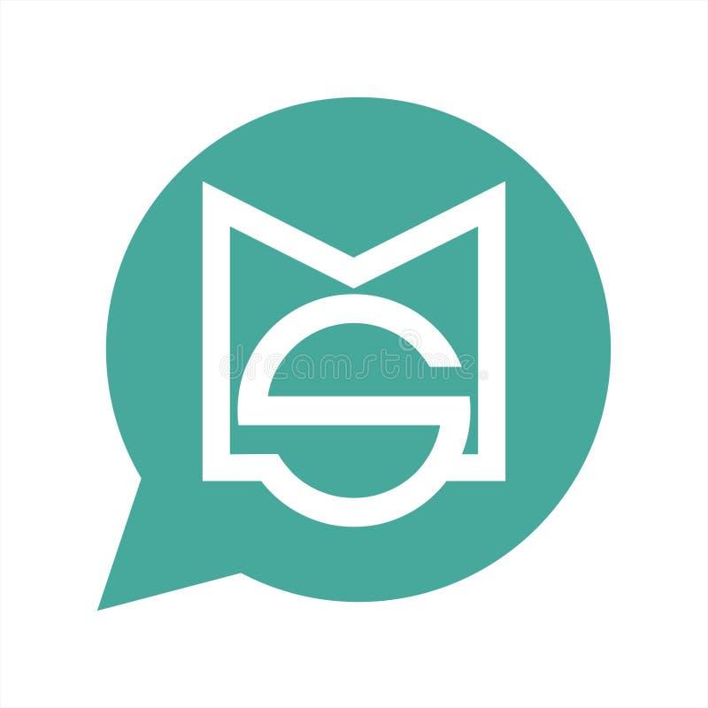 Απλά λογότυπο και εικονίδιο επιχείρησης φυσαλίδων μηνυμάτων αρχικών κρατών μελών, SM διανυσματικά ελεύθερη απεικόνιση δικαιώματος