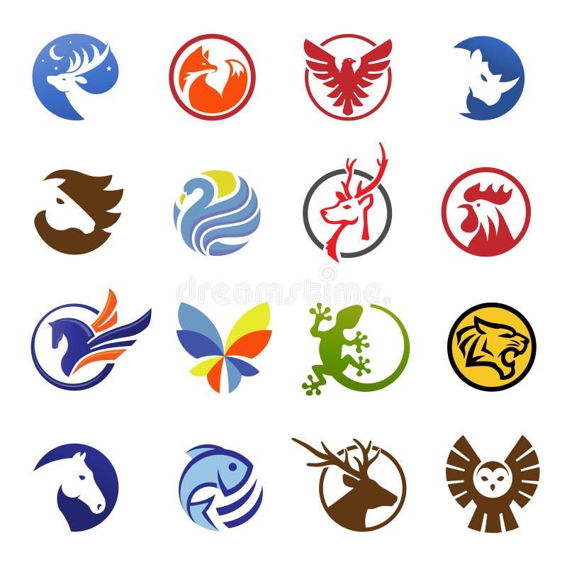 απλά σύγχρονα ζώα στο λογότυπο κύκλων διανυσματική απεικόνιση