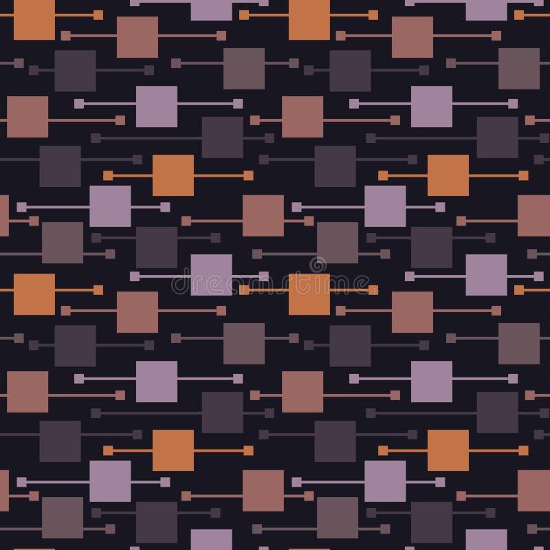 Απλές γεωμετρικές χλωμές τετράγωνα και γραμμές στο σκοτεινό υπόβαθρο Σκοτεινά αφηρημένα διανυσματικά άνευ ραφής σχέδια για το κλω απεικόνιση αποθεμάτων