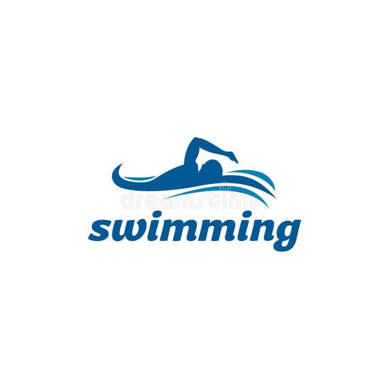 Απλή έμπνευση σχεδίου λογότυπων κολύμβησης - διάνυσμα διανυσματική απεικόνιση