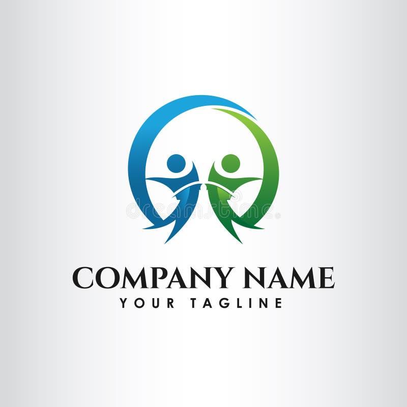 Απλή έννοια για το ζωηρόχρωμο κοινοτικό λογότυπο ανθρώπων απεικόνιση αποθεμάτων