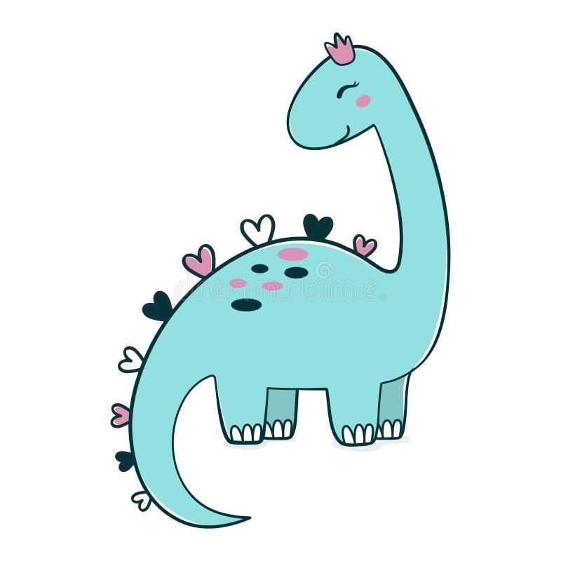 Απλή απεικόνιση των δεινοσαύρων κινουμένων σχεδίων στο στέμμα, εικόνα του χαριτωμένου βραχιόσαυρου για οποιοδήποτε σχέδιο Ιδανικό διανυσματική απεικόνιση