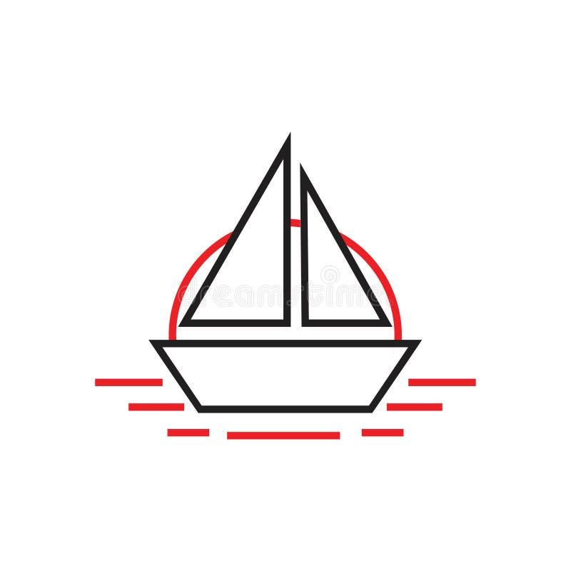 Απλή βάρκα στο διάνυσμα λογότυπων τέχνης γραμμών του ορίζοντα απεικόνιση αποθεμάτων