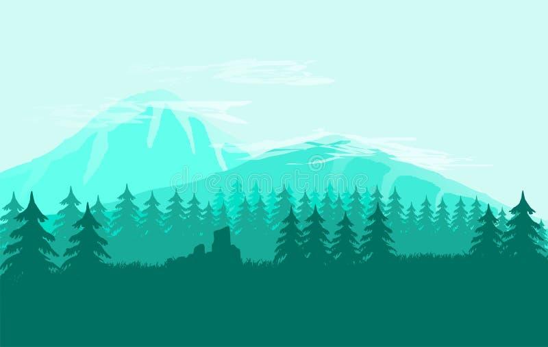 Απλή επίπεδη τέχνη βουνών τοπίων στοκ εικόνα με δικαίωμα ελεύθερης χρήσης