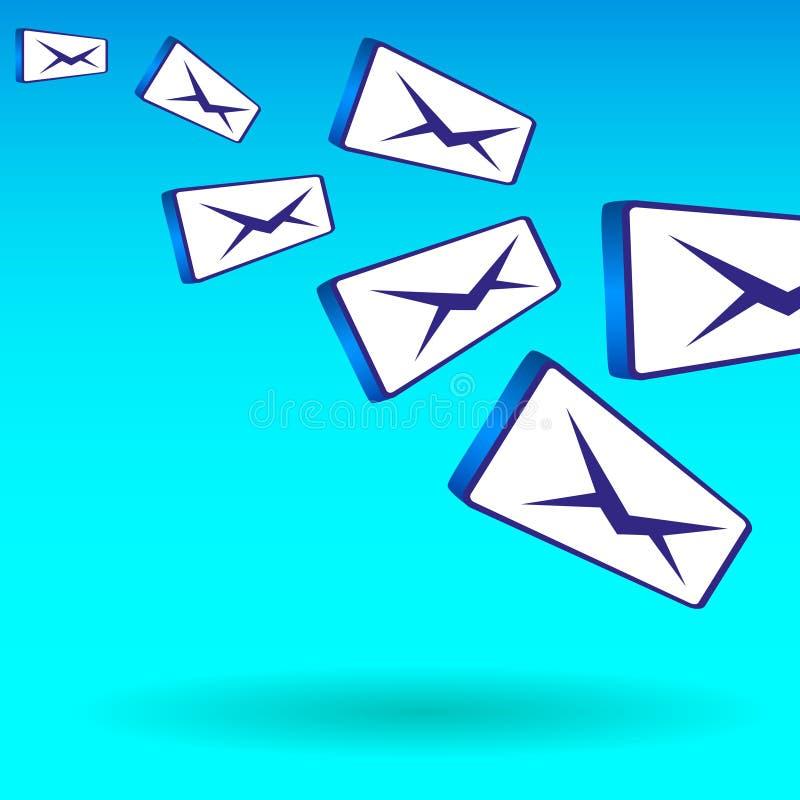Απλή ζωηρόχρωμη απεικόνιση του πετάγματος των μαζικών μηνυμάτων ταχυδρομείου απεικόνιση αποθεμάτων