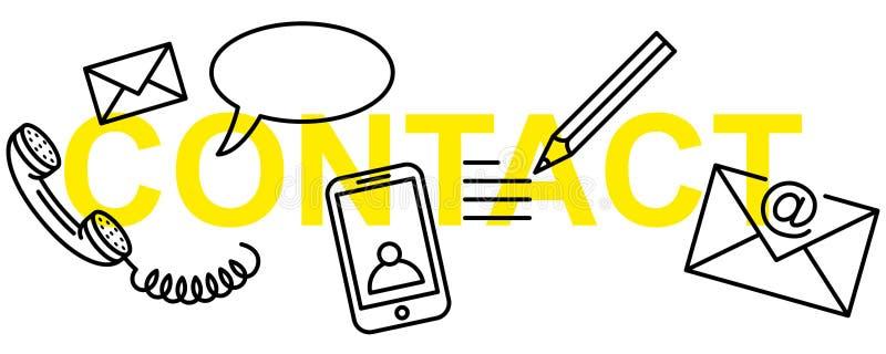 Απλή καθαρή νοητική διανυσματική απεικόνιση του εμβλήματος ΕΠΑΦΩΝ κειμένων με τα εικονίδια γραμμών επικοινωνίας ελεύθερη απεικόνιση δικαιώματος