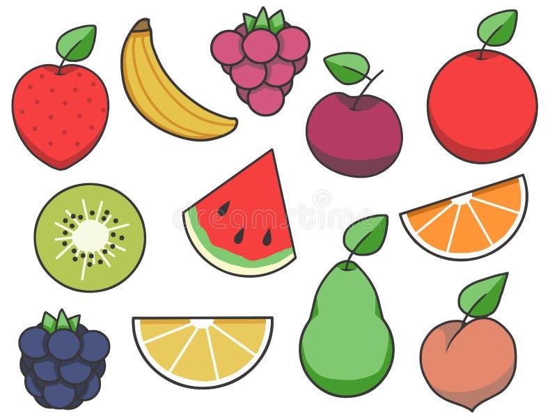 Απλή συλλογή εικονιδίων φρούτων διανυσματική με τη φράουλα, το μήλο, το αχλάδι, το λεμόνι, το καρπούζι, και άλλα φρούτα διανυσματική απεικόνιση