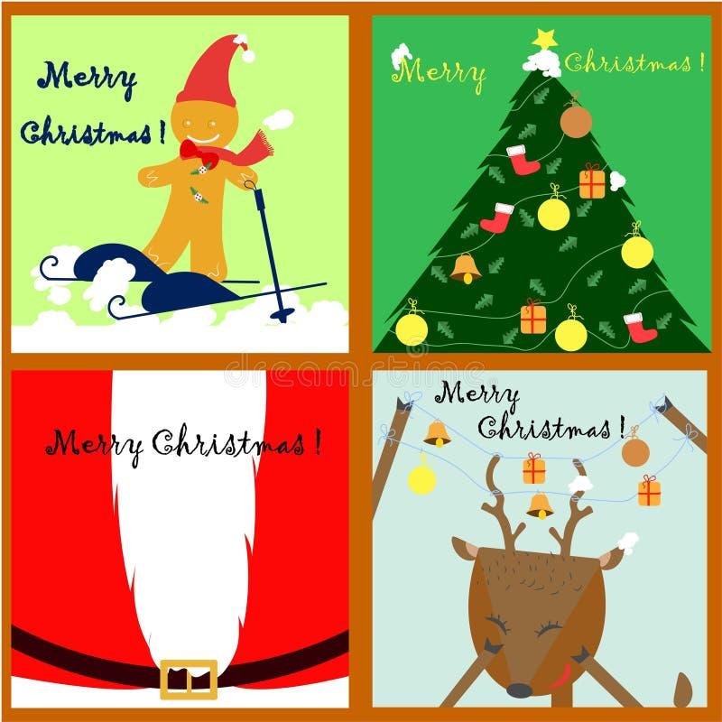 Απλή συλλογή καρτών Χριστουγέννων διανυσματική απεικόνιση