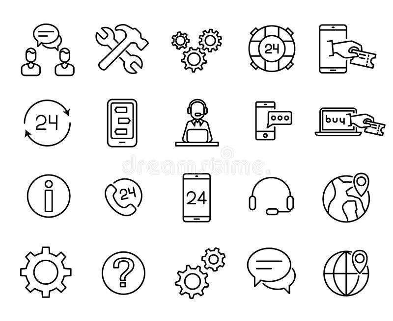 Απλή συλλογή σχετικών με των την εξυπηρέτηση πελατών εικονιδίων γραμμών απεικόνιση αποθεμάτων