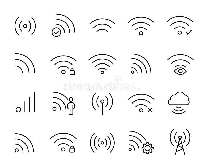 Απλή συλλογή σχετικών με των τις τηλεπικοινωνίες εικονιδίων γραμμών ελεύθερη απεικόνιση δικαιώματος