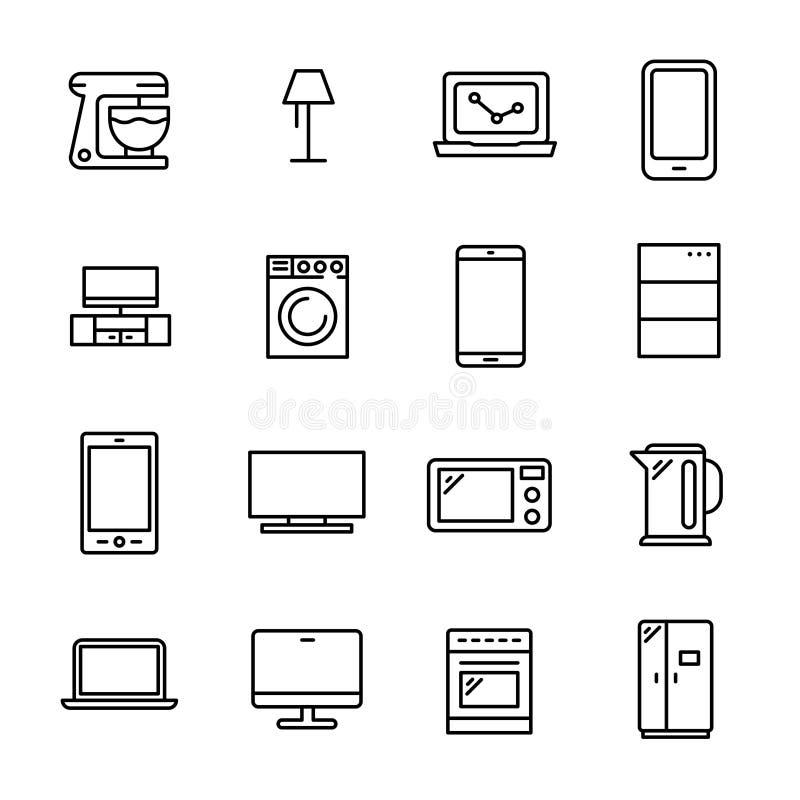 Απλή συλλογή των έξυπνων κατ' οίκον σχετικών εικονιδίων γραμμών απεικόνιση αποθεμάτων