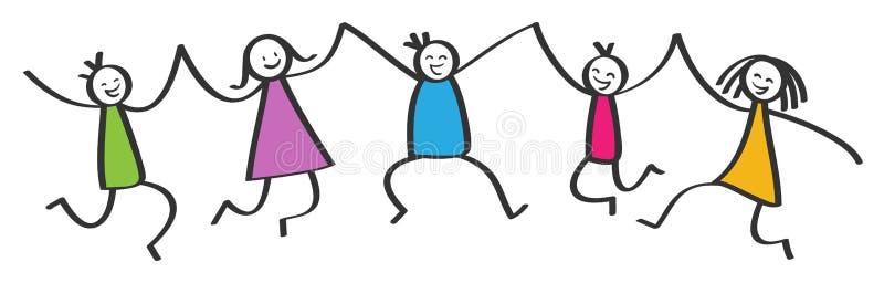 Απλοί αριθμοί ραβδιών, πέντε ευτυχή ζωηρόχρωμα παιδιά που πηδούν, που κρατούν τα χέρια, που χαμογελούν και που γελούν ελεύθερη απεικόνιση δικαιώματος