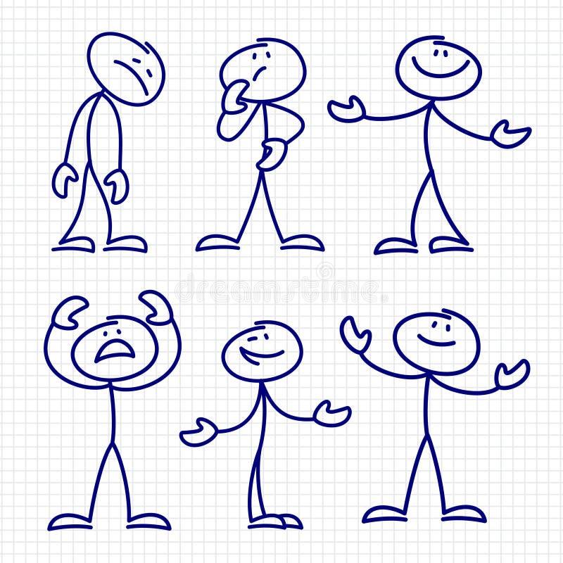 Απλοί συρμένοι χέρι αριθμοί ραβδιών καθορισμένοι διανυσματικοί ελεύθερη απεικόνιση δικαιώματος