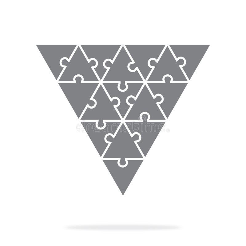 Απλοί τριγωνικοί γρίφοι εικονιδίων σε γκρίζο Απλός γρίφος εικονιδίων των δεκαεννέα στοιχείων διανυσματική απεικόνιση