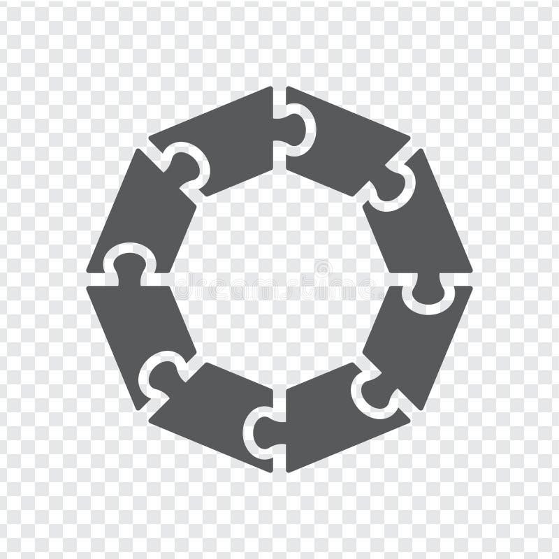 Απλός γρίφος κύκλων εικονιδίων σε γκρίζο Απλός γρίφος οκταγώνων εικονιδίων των οκτώ στοιχείων στο διαφανές υπόβαθρο απεικόνιση αποθεμάτων