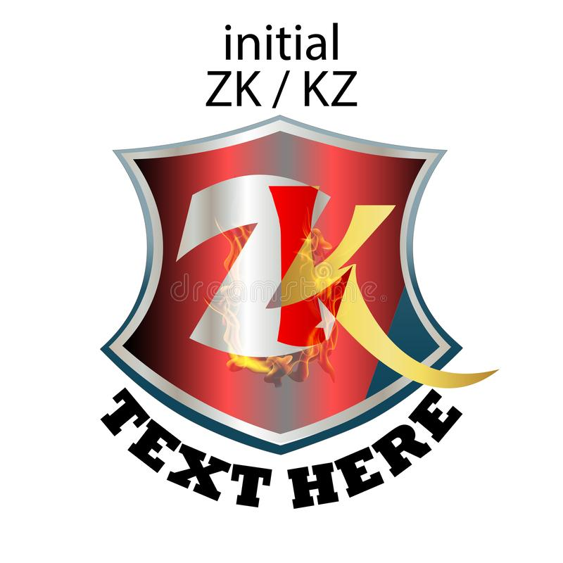 Απλός κομψός αρχικός τύπος ZK ή KZ επιστολών ελεύθερη απεικόνιση δικαιώματος
