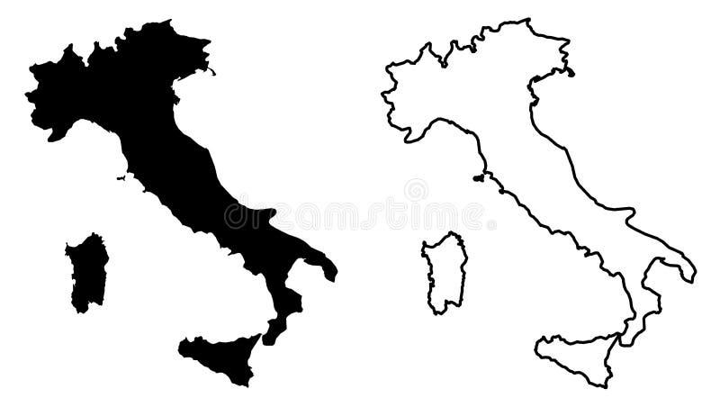 Απλός μόνο αιχμηρός χάρτης γωνιών του διανυσματικού drawi της Ιταλικής Δημοκρατίας ελεύθερη απεικόνιση δικαιώματος