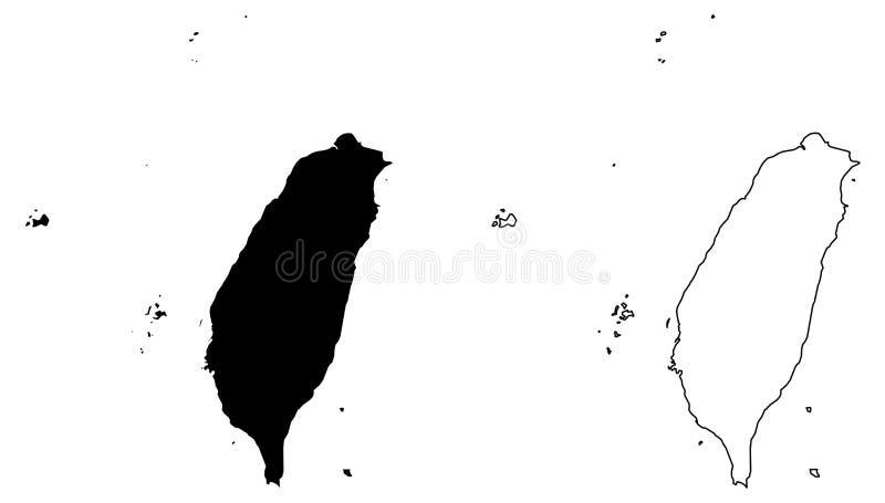Απλός μόνο αιχμηρός χάρτης γωνιών του διανύσματος περιοχών της Ταϊβάν Κίνα διανυσματική απεικόνιση
