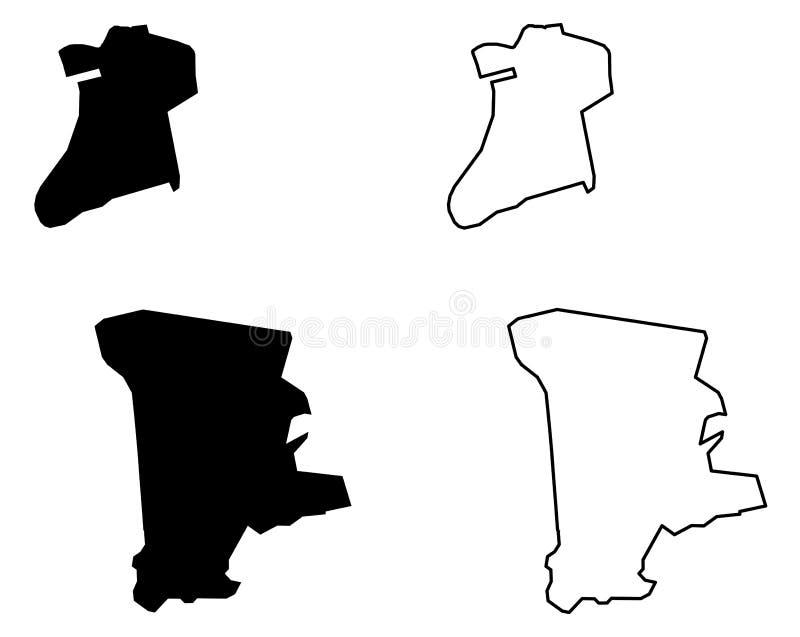 Απλός μόνο αιχμηρός χάρτης γωνιών του Μακάο Μακάο ειδικό Administ διανυσματική απεικόνιση