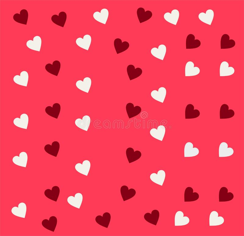 Απλό άνευ ραφής διανυσματικό σχέδιο καρδιών Ρόδινο υπόβαθρο ημέρας βαλεντίνων Επίπεδη ατελείωτη χαοτική σύσταση σχεδίου φιαγμένη  ελεύθερη απεικόνιση δικαιώματος