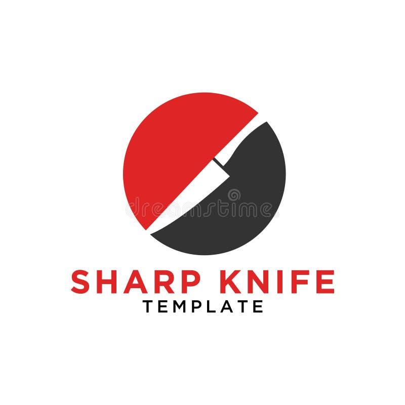 Απλό αιχμηρό μαχαίρι σε ένα σχέδιο λογότυπων κύκλων διανυσματική απεικόνιση