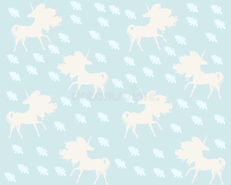 Απλό ατελείωτο σχέδιο με τις σκιαγραφίες των μονοκέρων και των μειωμένων δρύινων φύλλων στο ανοικτό μπλε υπόβαθρο στο διάνυσμα Τυ διανυσματική απεικόνιση