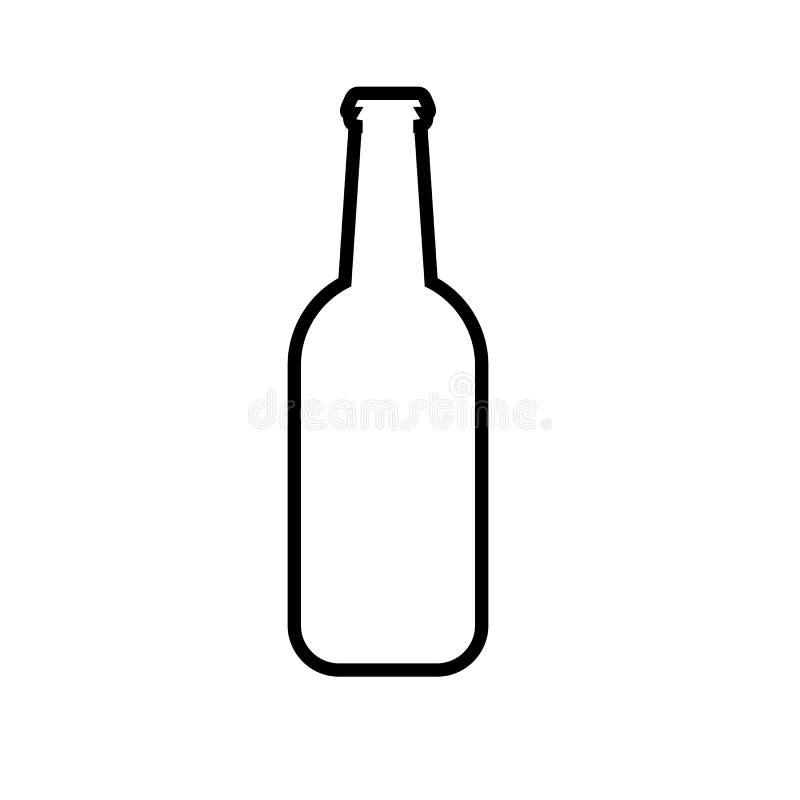Απλό αφηρημένο γραπτό εικονίδιο από ένα μπουκάλι της φρέσκιας, foamy νόστιμης αναζωογονώντας μπύρας και του διαστήματος αντιγράφω διανυσματική απεικόνιση