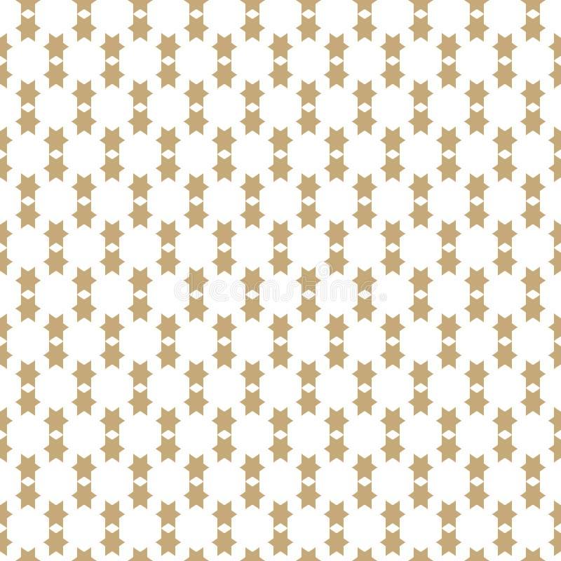 Απλό γεωμετρικό άνευ ραφής σχέδιο με τα χρυσά αστέρια Διανυσματική αφηρημένη σύσταση απεικόνιση αποθεμάτων